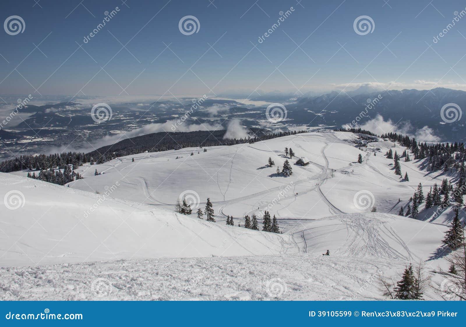 Sneeuw de Winterlandschap met Bomen en Plattelandshuisje