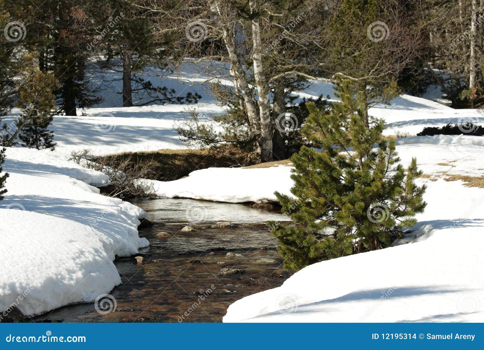 Sneeuw stroom in de Pyreneeën