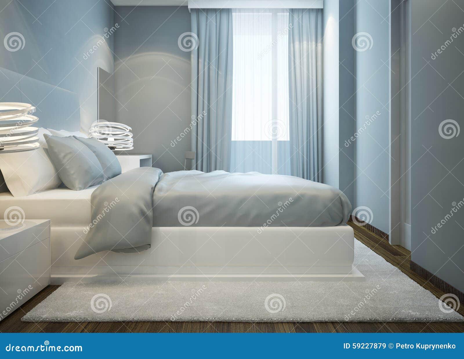 Sneeuw wit bed in blauwe slaapkamer stock illustratie afbeelding 59227879 - Wit bed capitonne ...