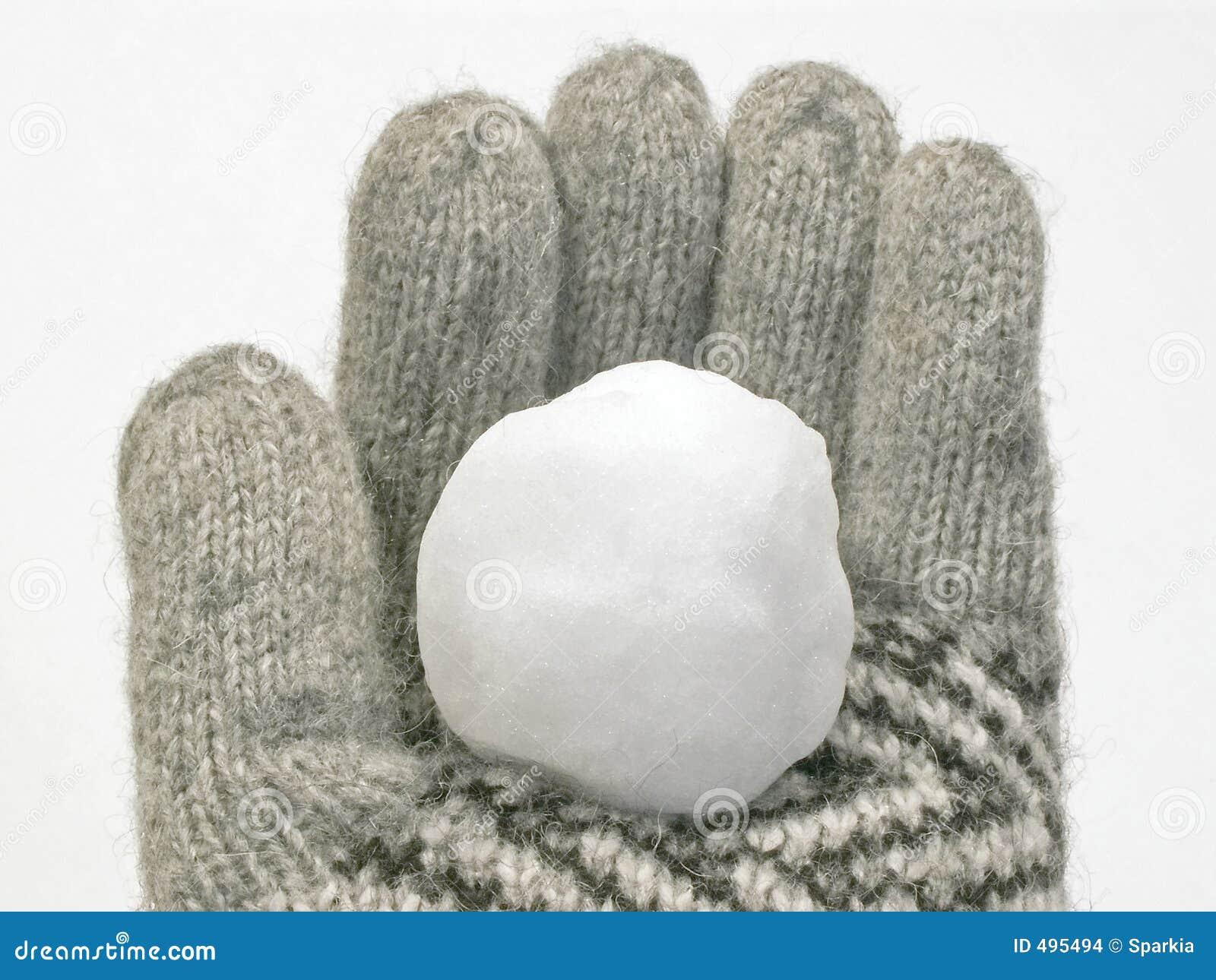 Sneeuwbal in de winterhandschoen