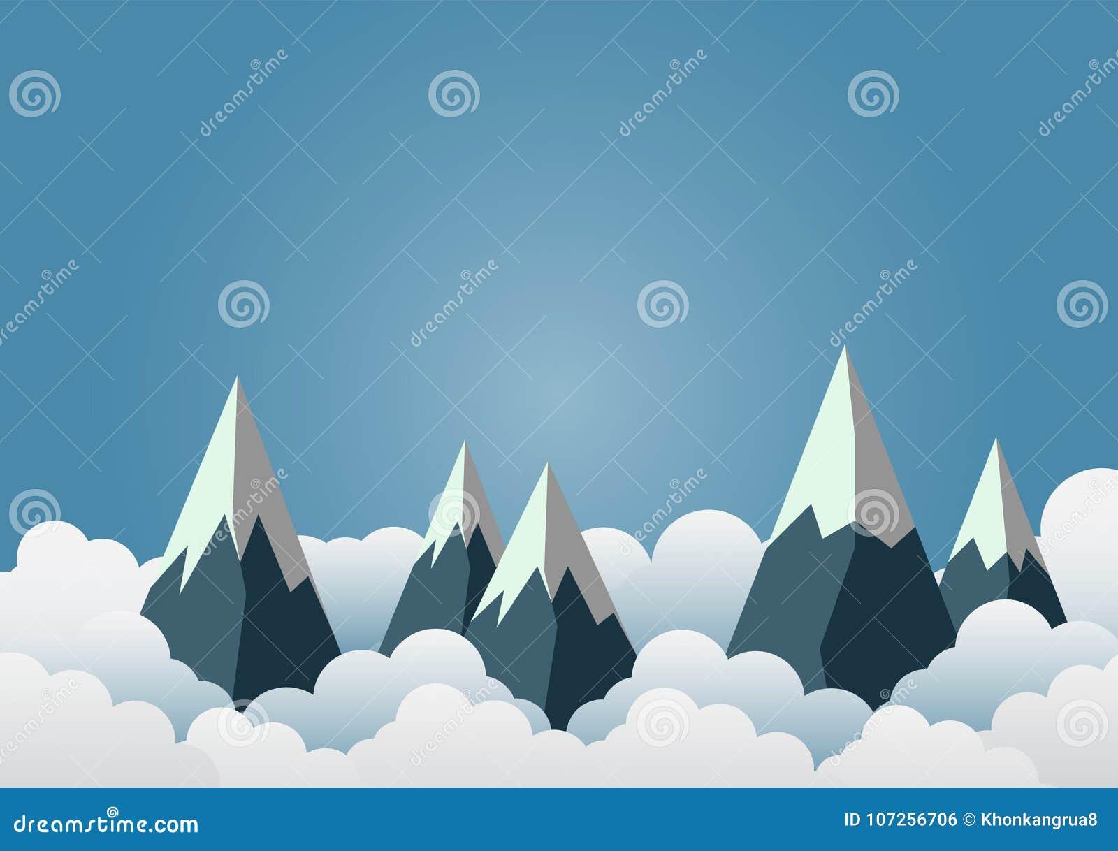 Sneeuwberg met mooie wolken Document art. vactorillustrati