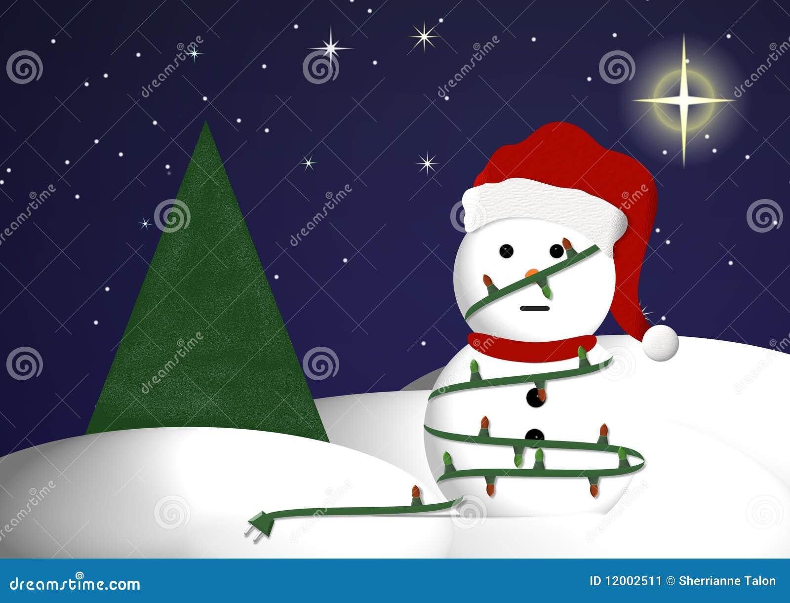 Sneeuwman in de lichten van Kerstmis