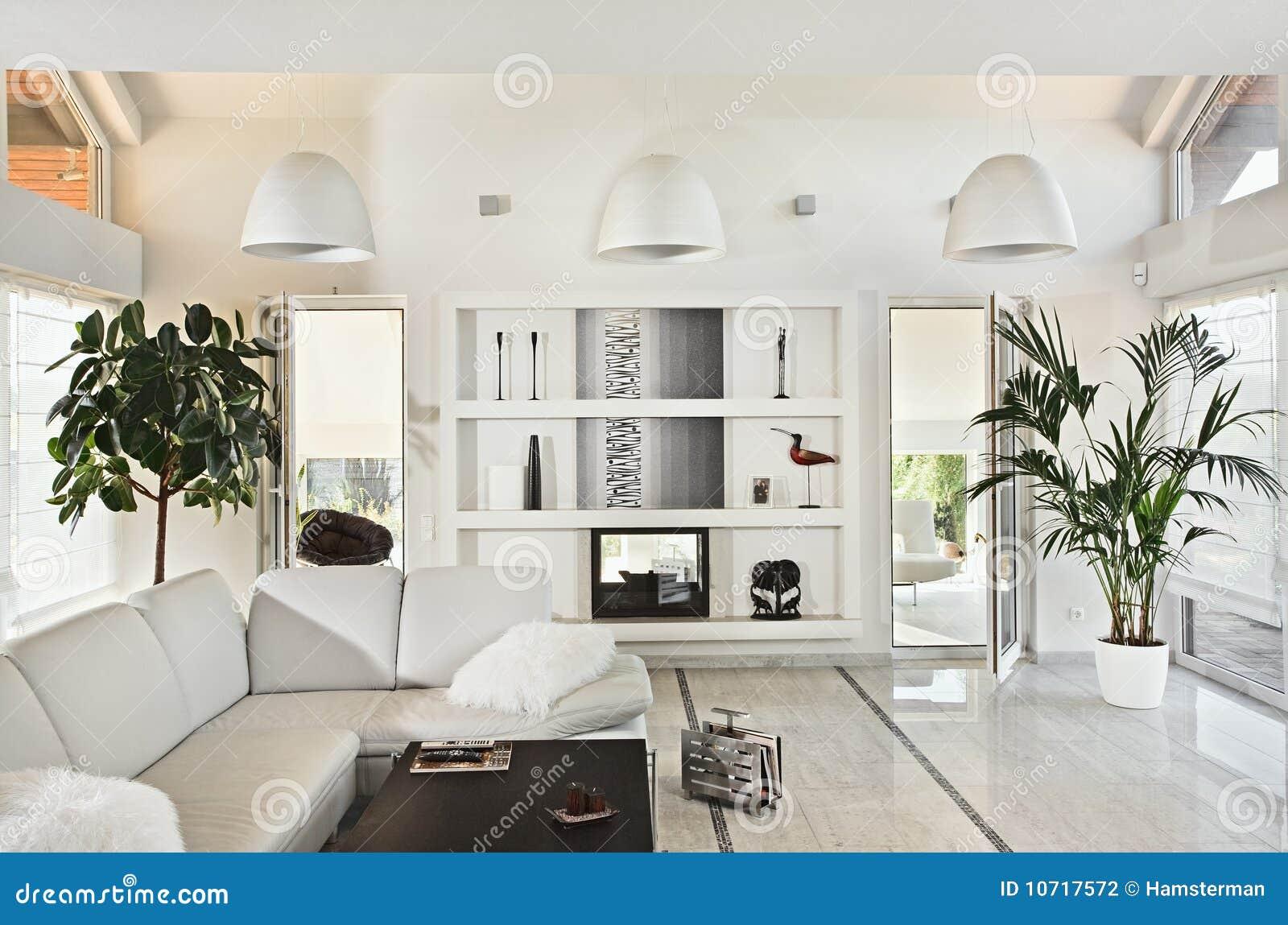 Sneeuwwitte woonkamer modern binnenland stock fotografie ...