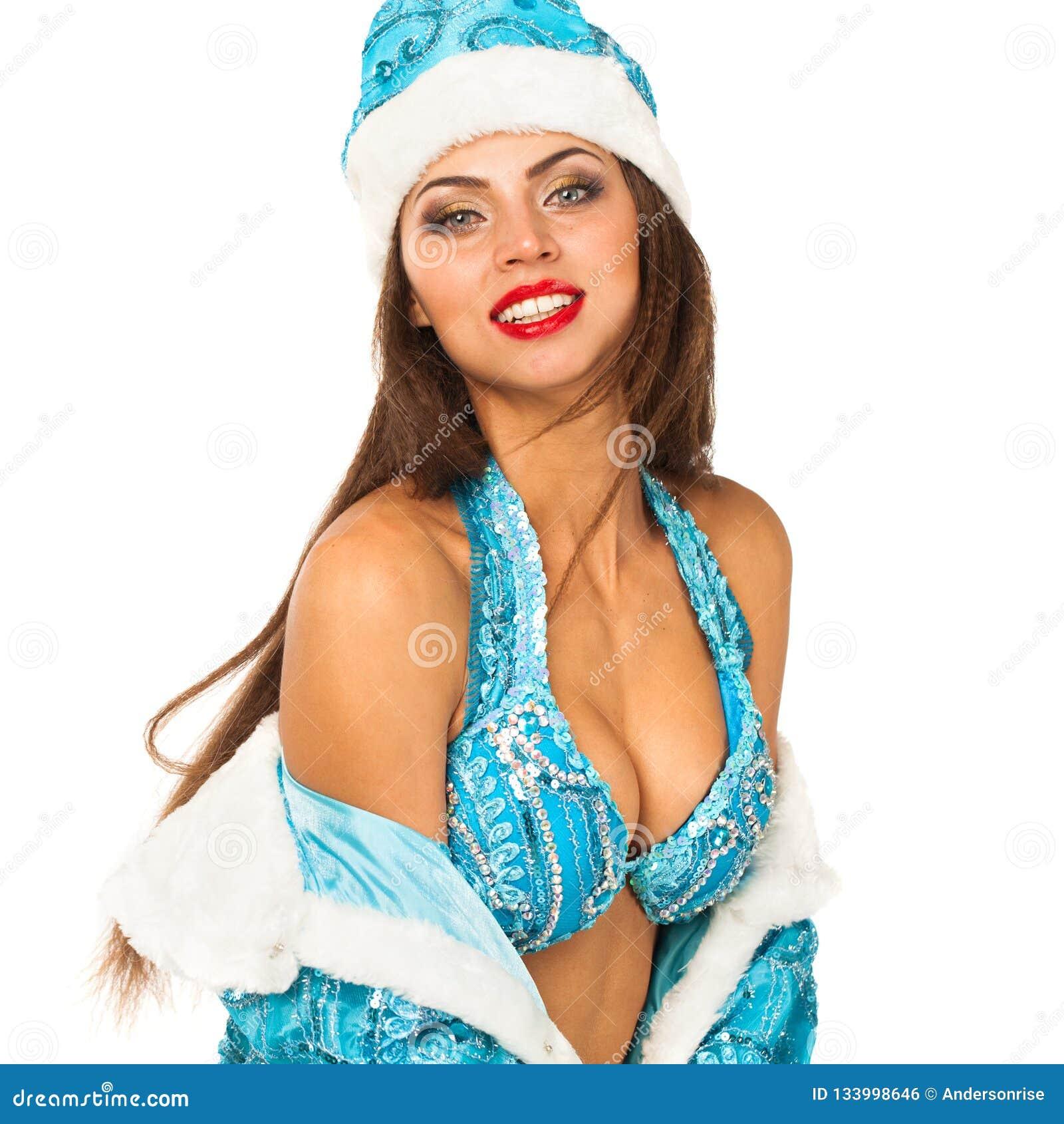 Snegurochka ruso Mujer joven en el traje de la criada de la nieve