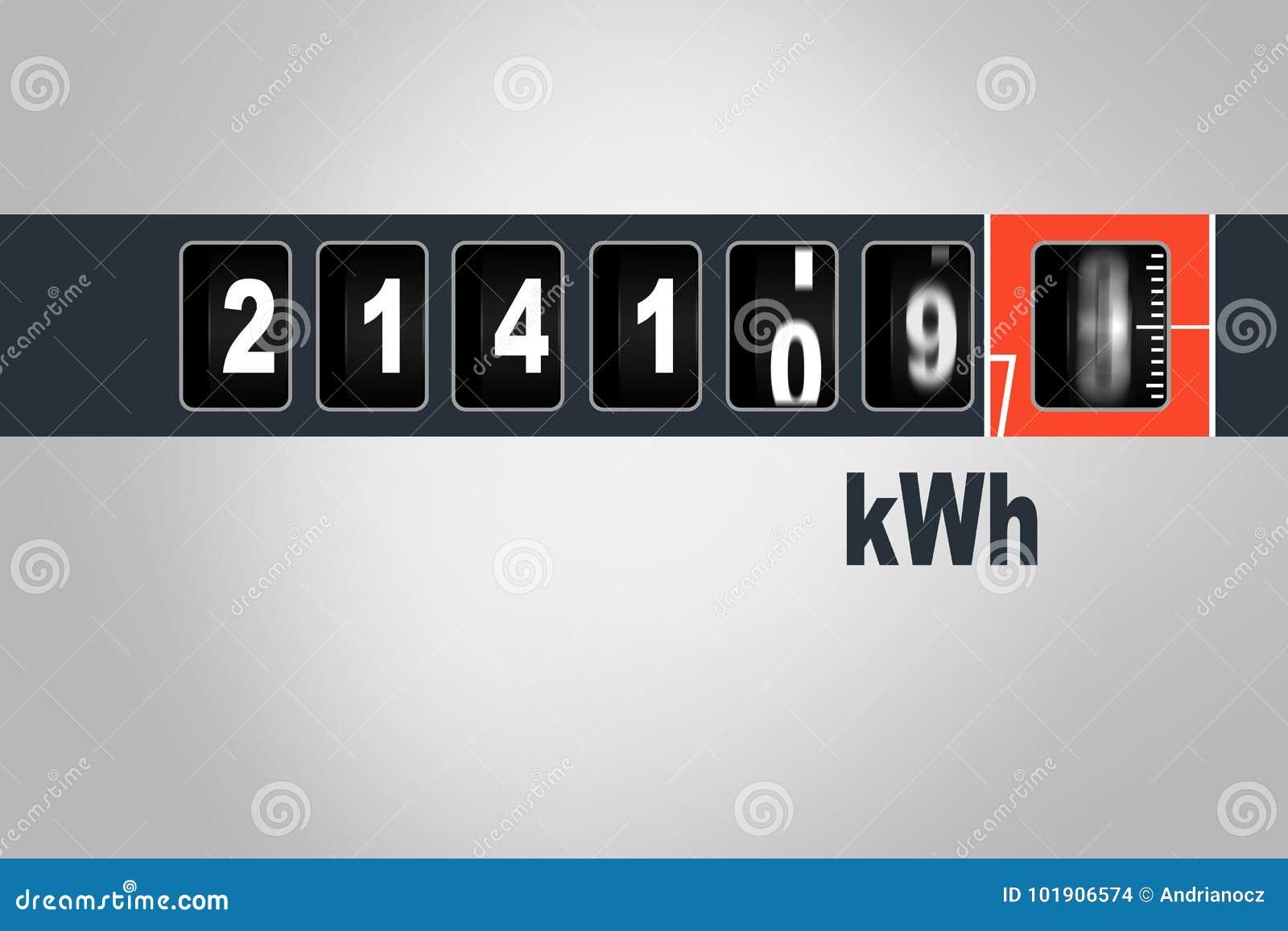 Snel lopende elektriciteitsmeter - het concept van de machtsconsumptie