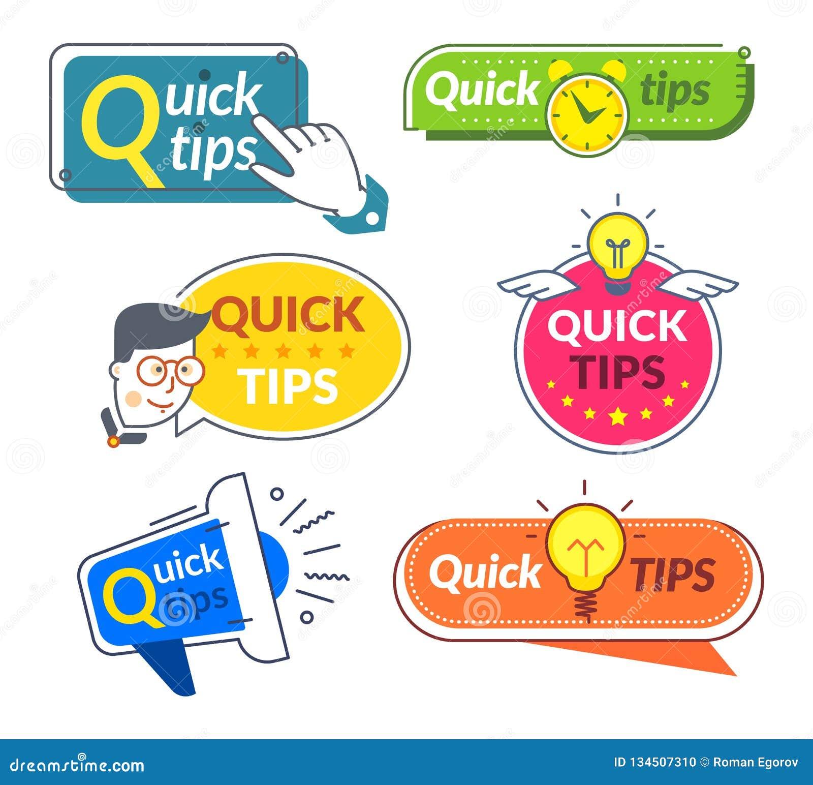 Snelle uiteindebanners Uiteinden en trucs de suggestie, helpt snel raadsoplossingen De nuttige etiketten van informatiewoorden