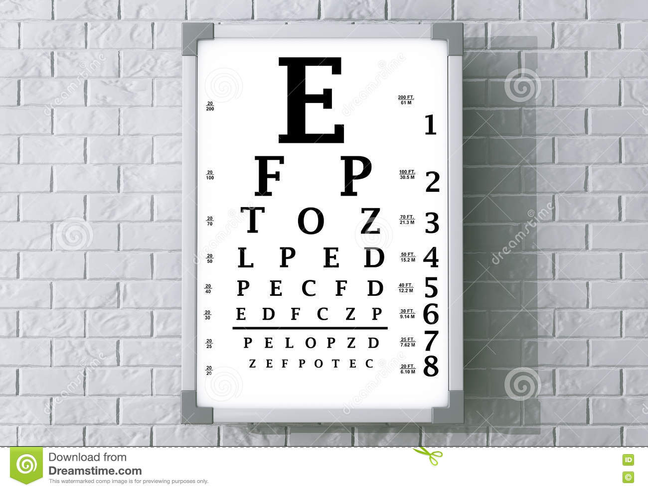 Snellen eye chart test box 3d rendering stock illustration snellen eye chart test box 3d rendering letters blindness royalty free illustration geenschuldenfo Choice Image
