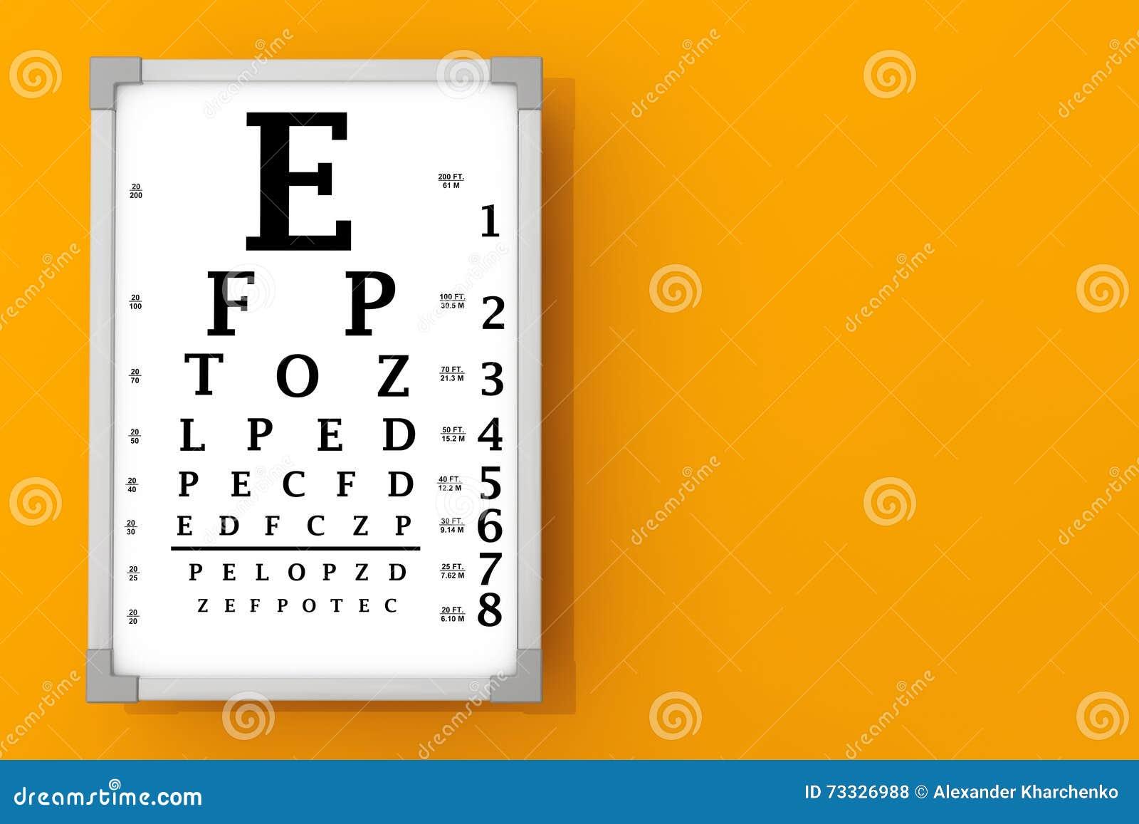 Snellen eye chart test box 3d rendering stock illustration snellen eye chart test box 3d rendering royalty free illustration geenschuldenfo Choice Image