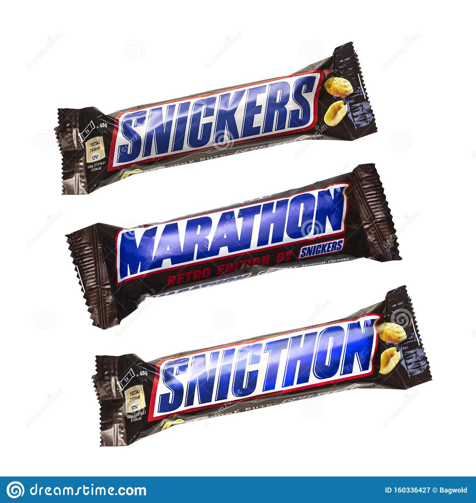 Snickers, Marathon And Snicthon Chocolate Bars Editorial Photography -  Image of chocolate, caramel: 160336427