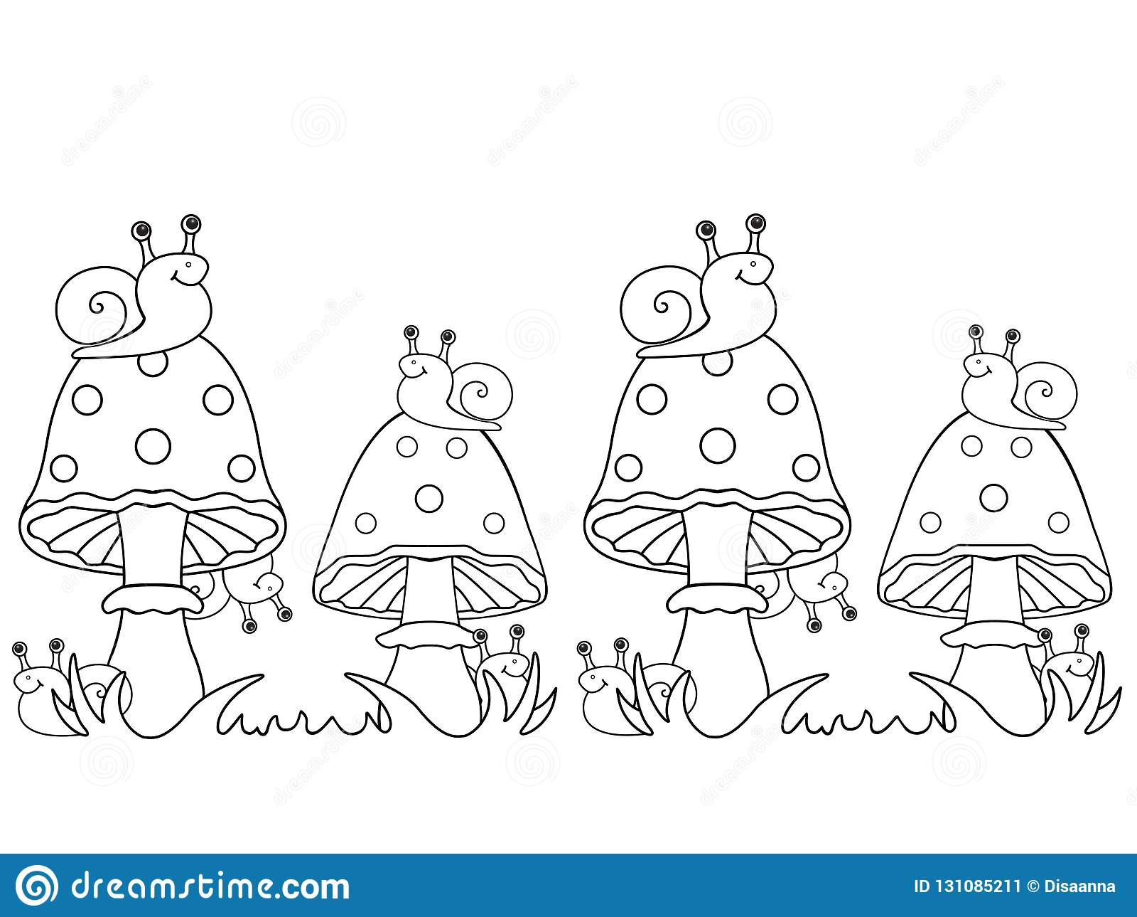 Sniglar och flugsvampar Sniglar sitter på champinjoner och döljer bak dem
