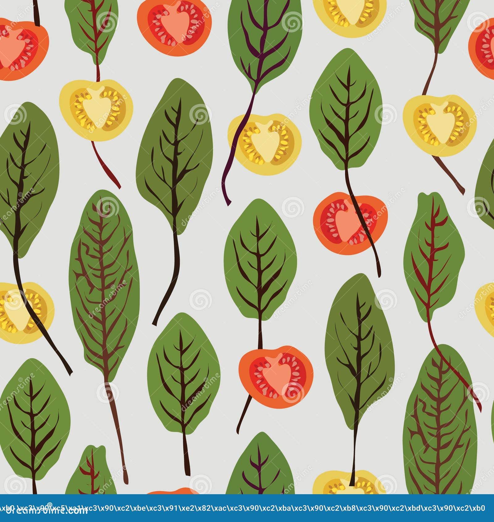Snijbiet en tomaten, naadloos vectorpatroon