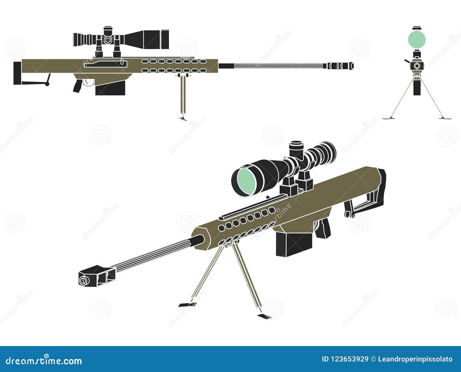 sniper gun without outline stock vector illustration of hidden