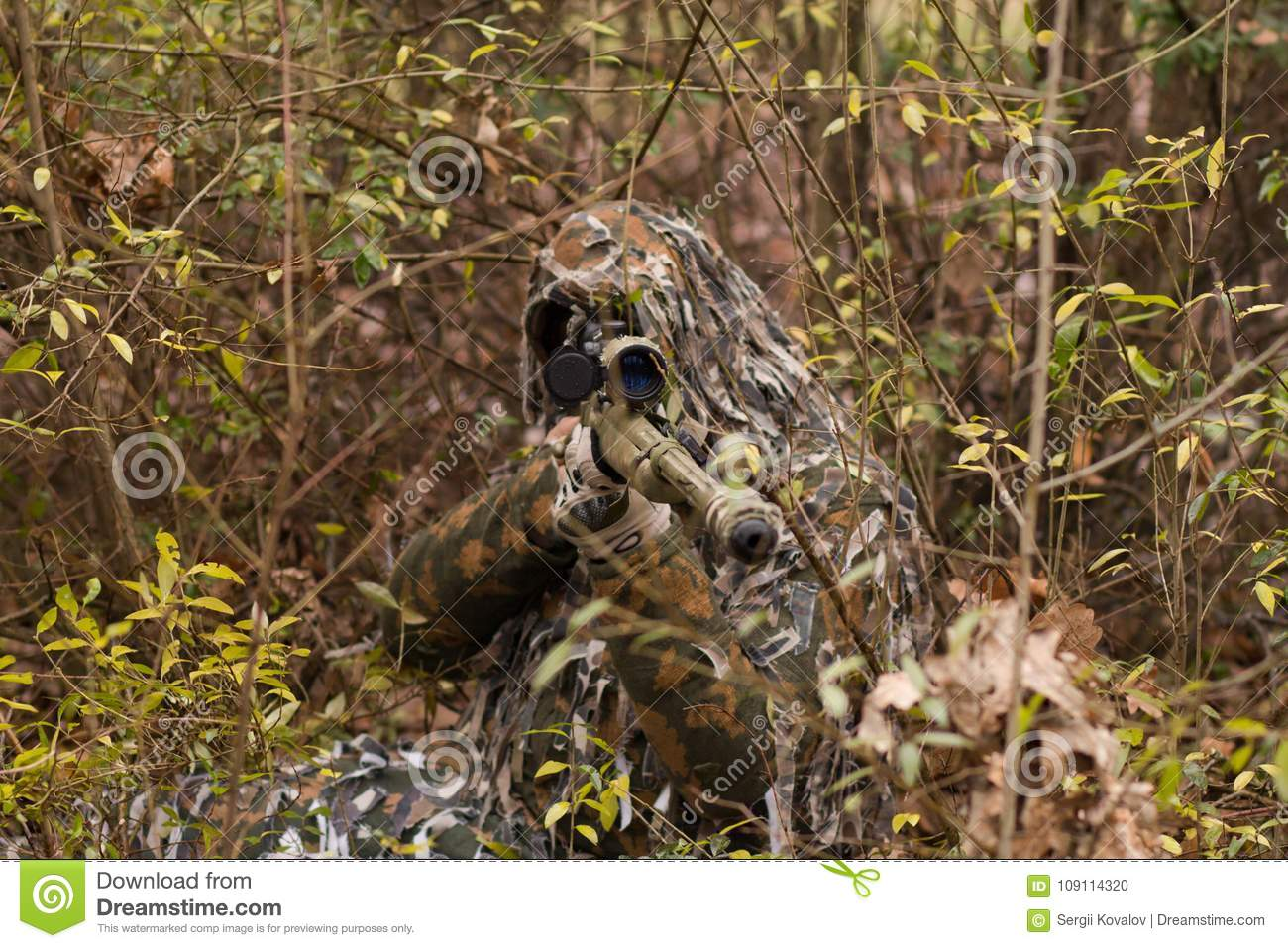 Sniper hiding in forest