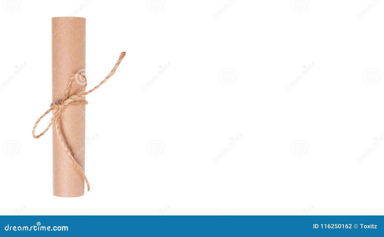 Snirkel för Kraft papper som isoleras på vit bakgrund kopieringsutrymme, mall