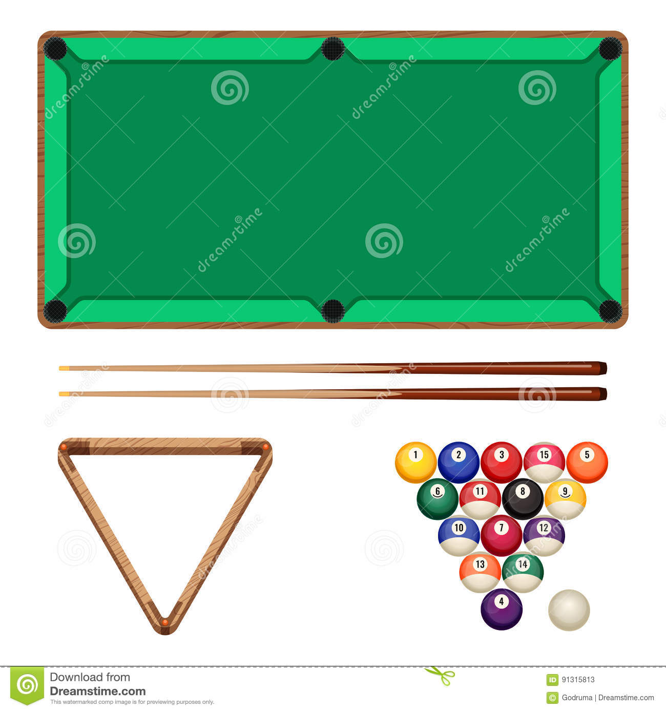 snooker and pool gaming elements isolated on white billiard table stock vector illustration. Black Bedroom Furniture Sets. Home Design Ideas