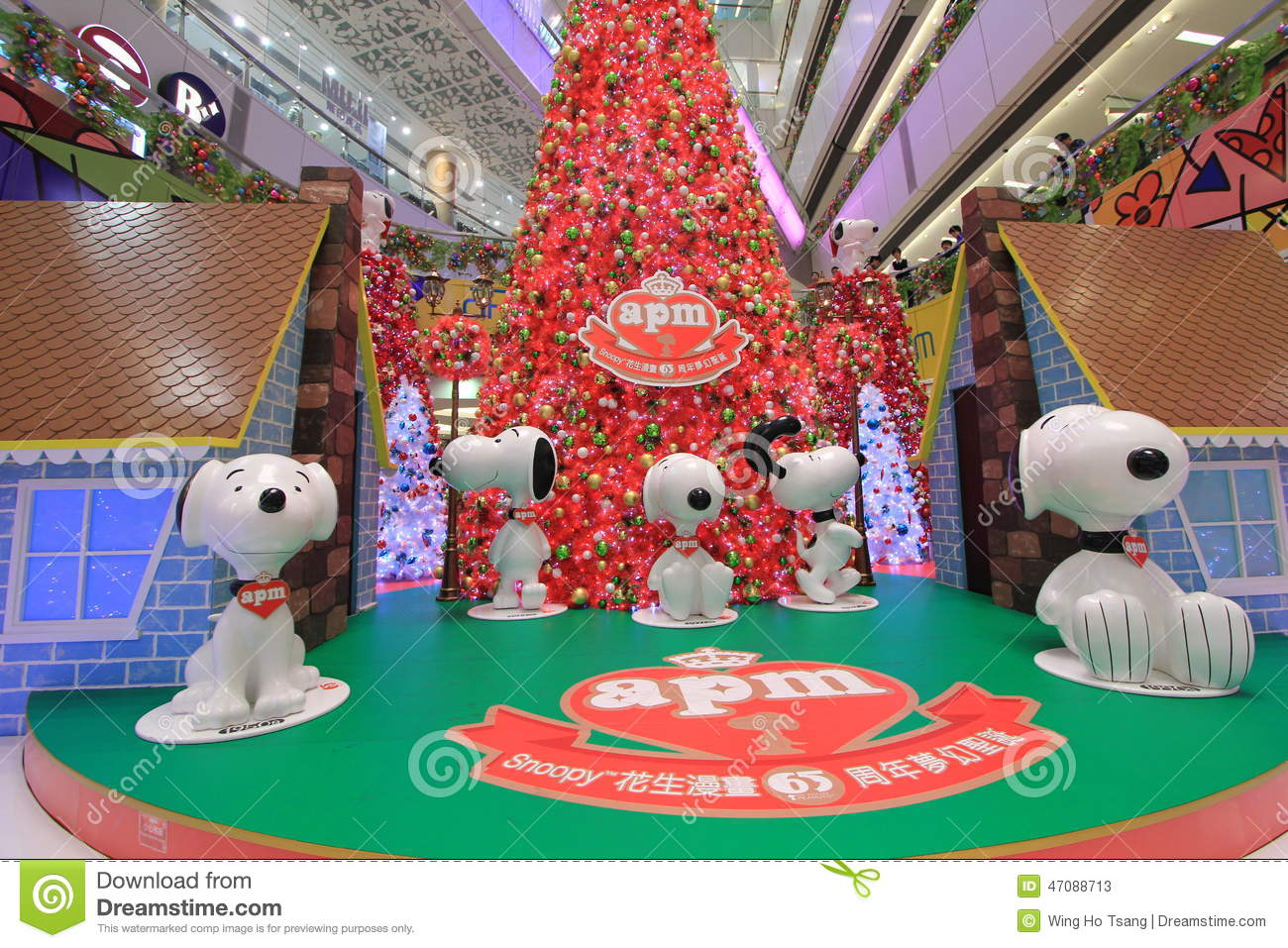 snoopy christmas decoration in apm hong kong