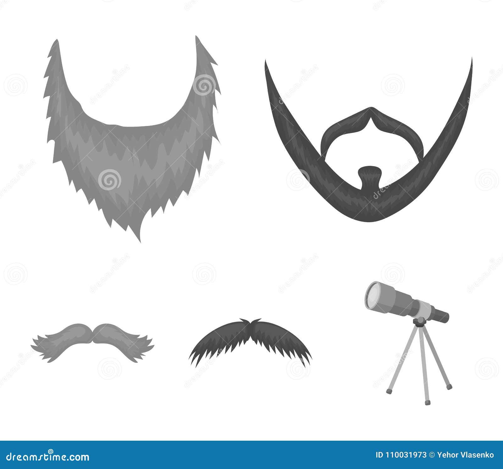 Snor en baard, kapsels zwart-wit pictogrammen in vastgestelde inzameling voor ontwerp De voorraadweb van het modieus kapsel vecto