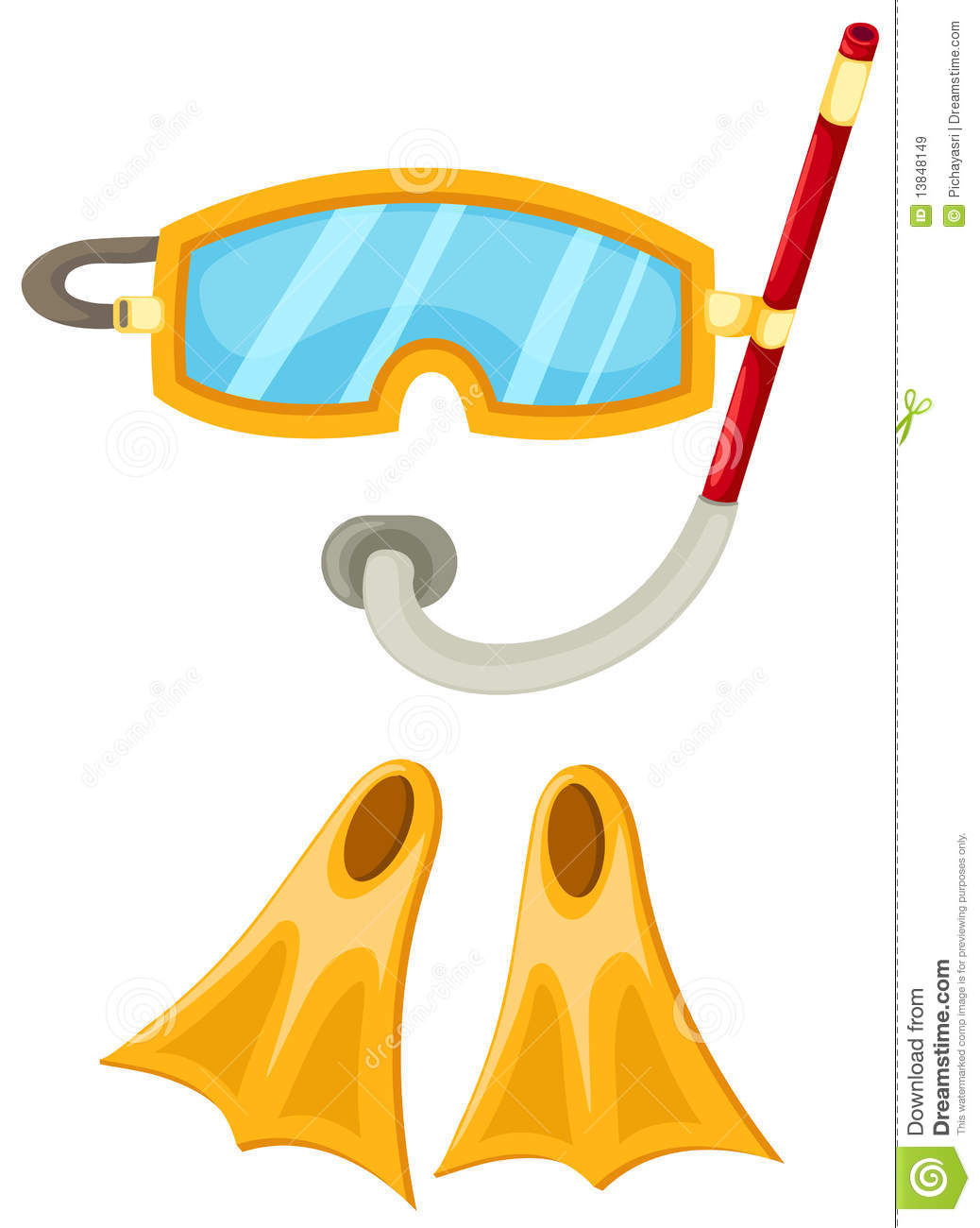 Snorkeling Equipment And Flippers Royalty Free Stock Images - Image ...
