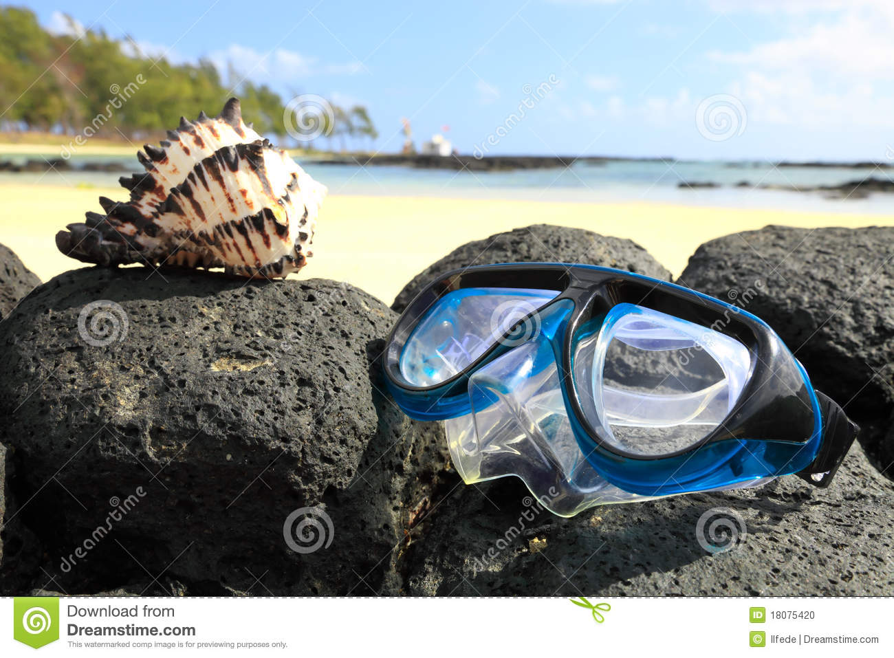 Snorkeling Maskwith Tropical Beach Background