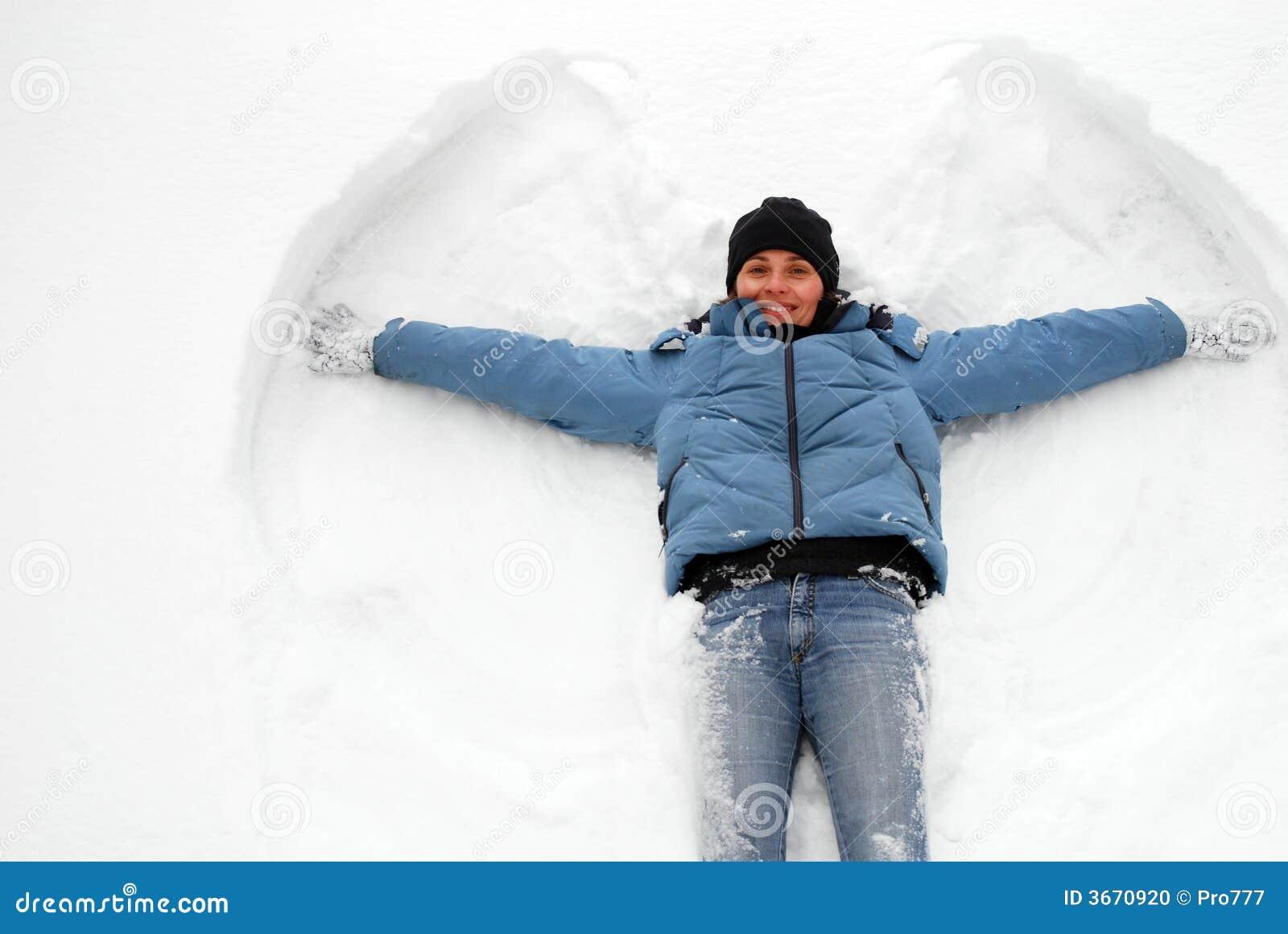 Snow angel stock photo image of child female lady