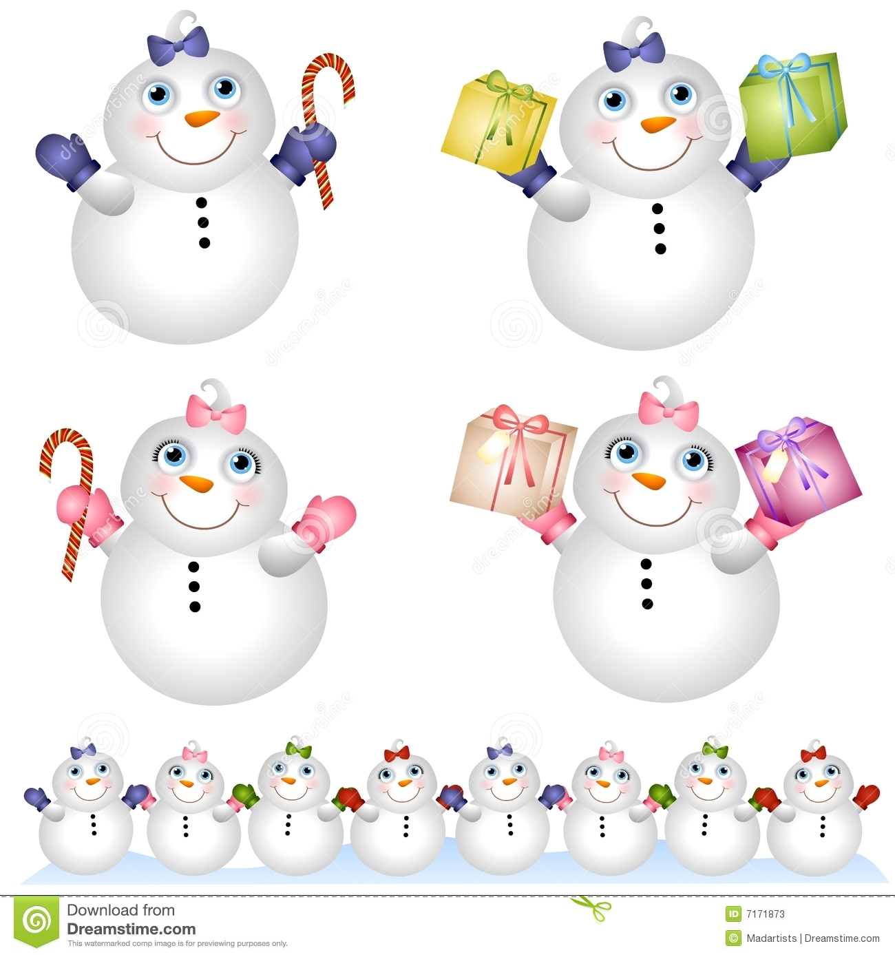 An illustration featuring adorable 'baby' snowmen - a boy and a girl ...