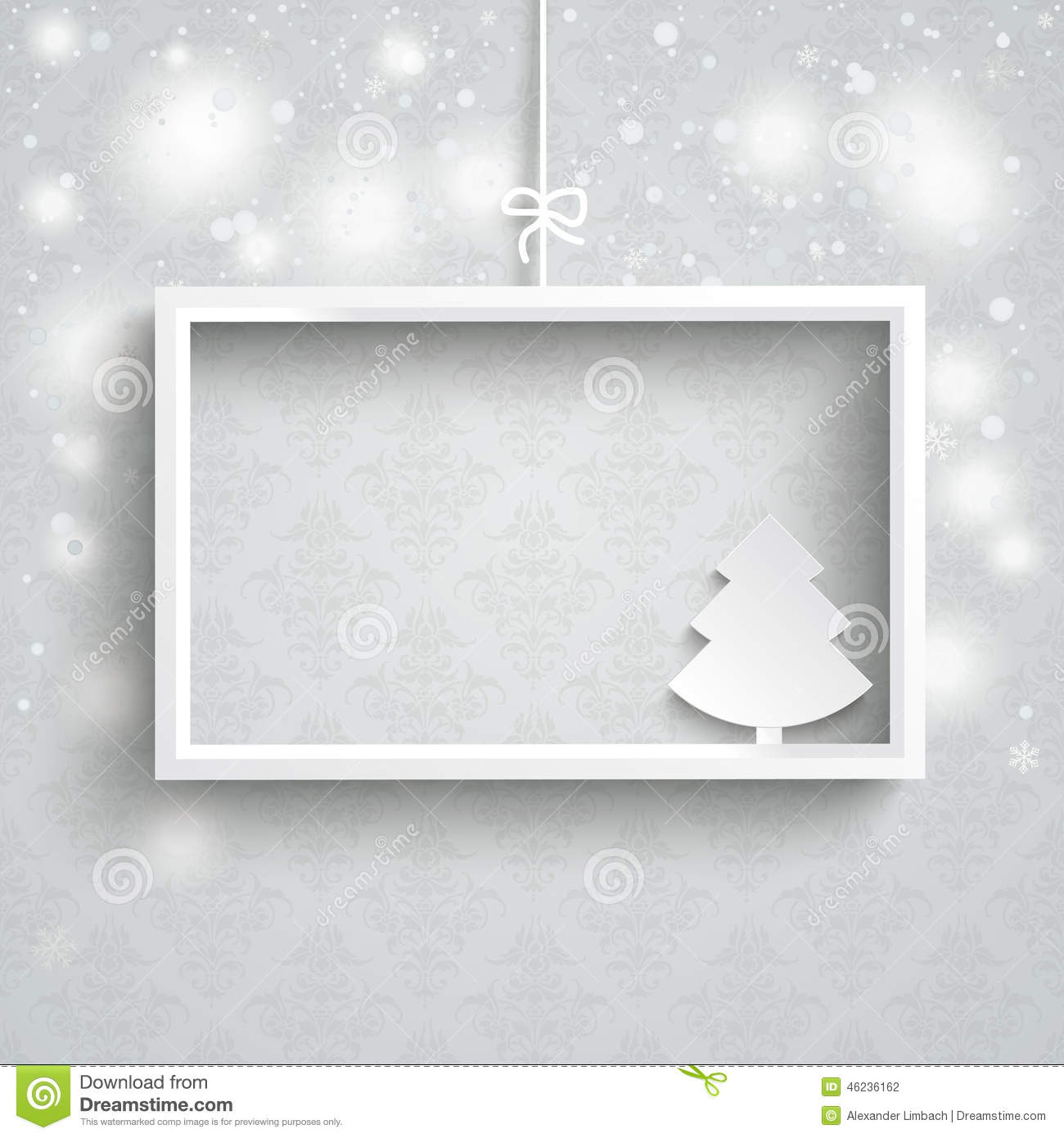 Snow Background Ornaments White Frame Christmas Tree Illustration ...