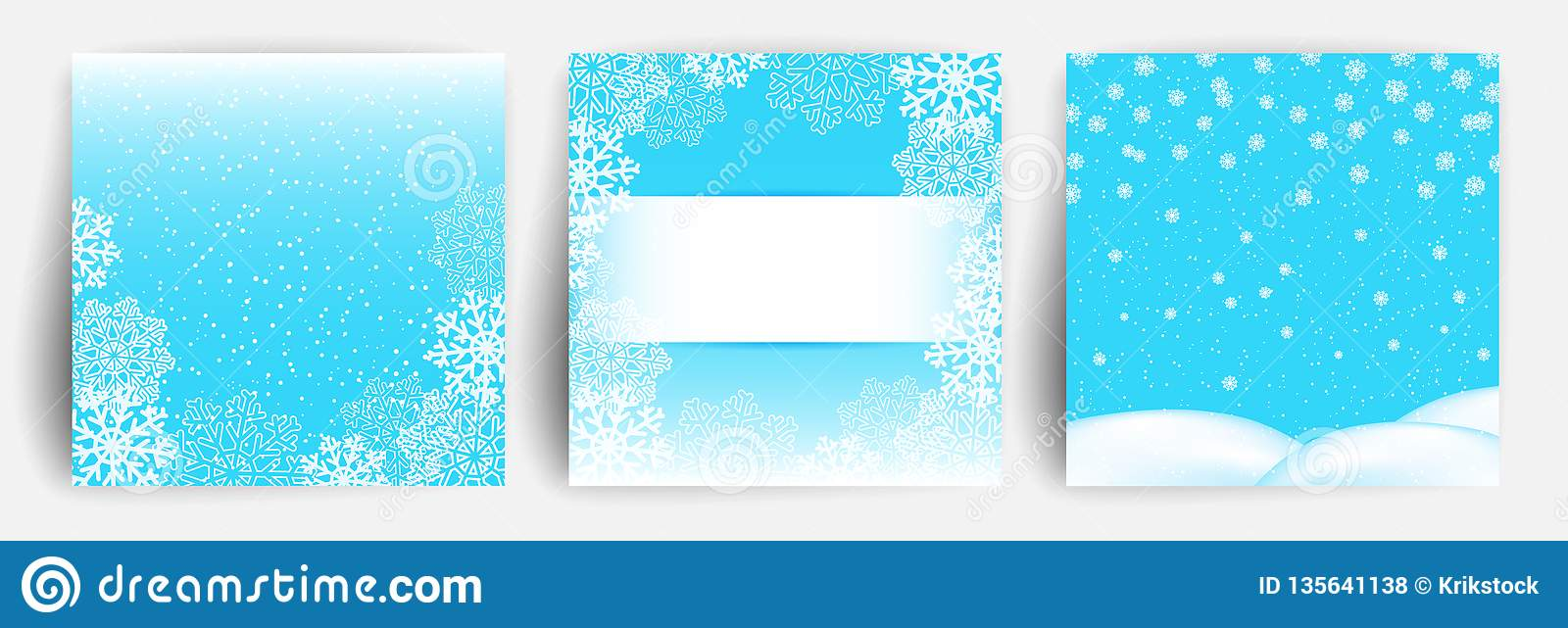 Snow background. Set of Christmas Greeting card design template for flyer, banner, invitation, congratulation. Christmas backdrops