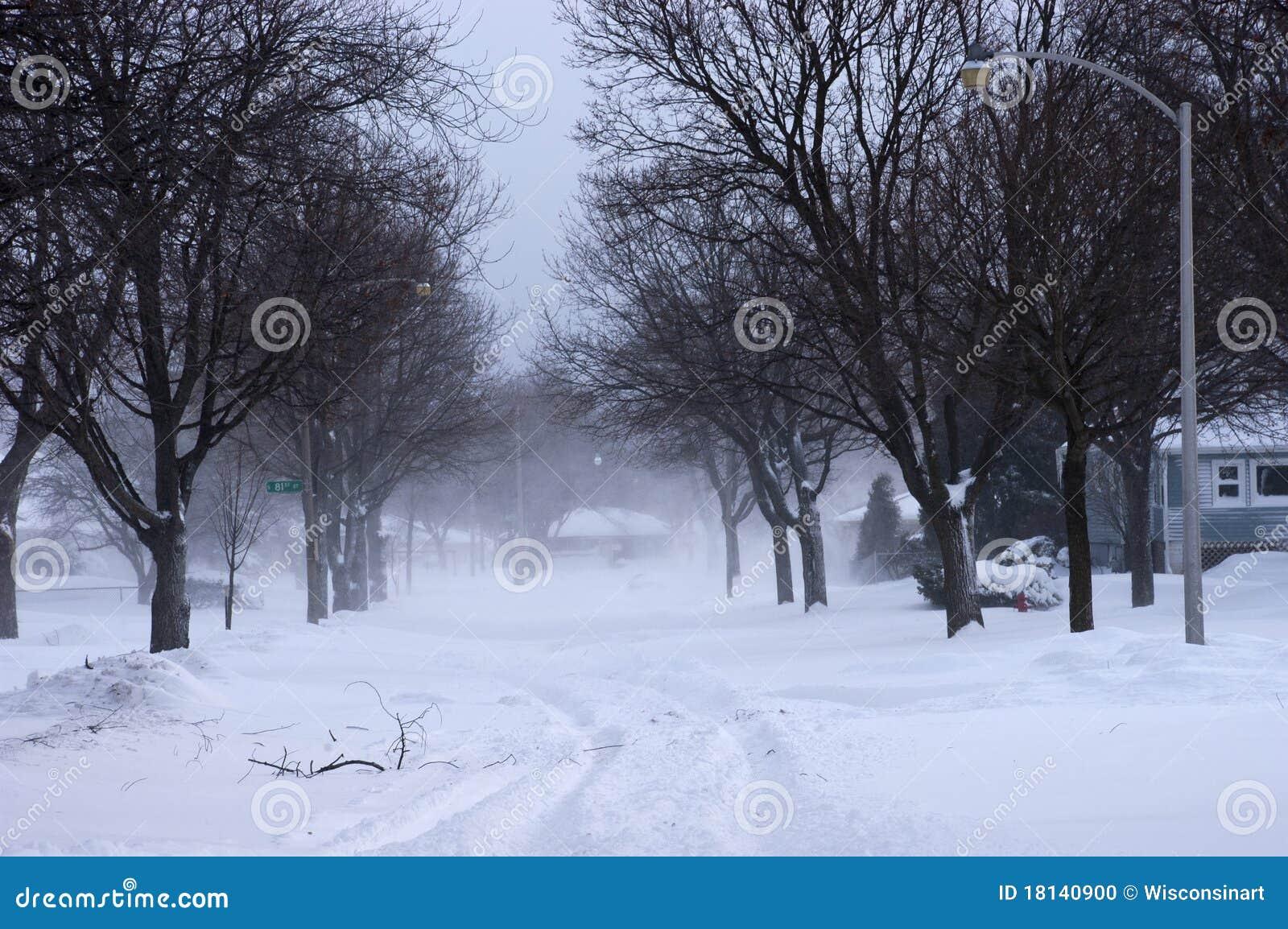 City In Winter Houses Homes Neighborhood Snow Stock