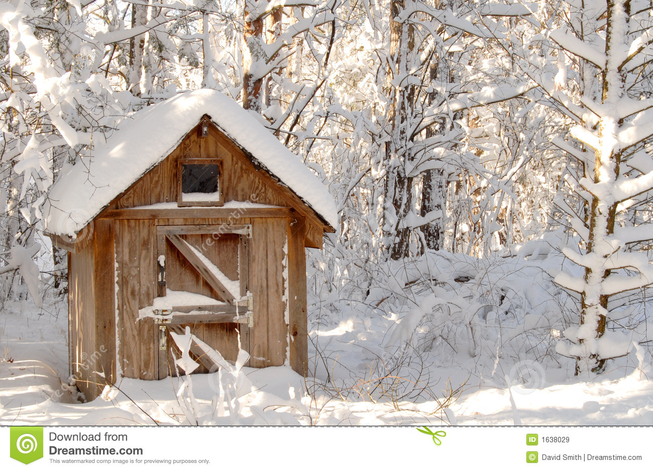 Snow Bound Wooden Shack In A Wooded Setting Royalty Free