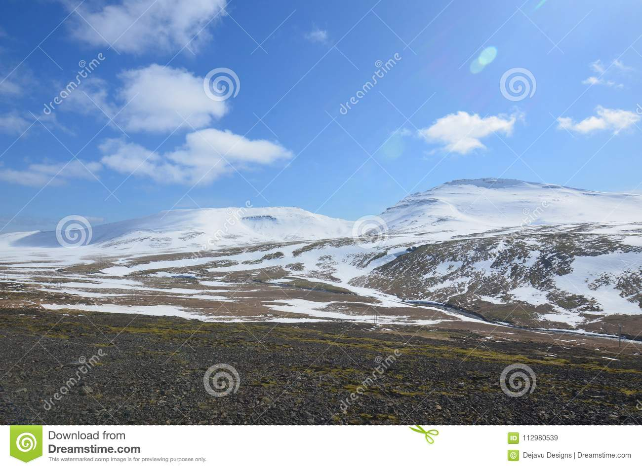 Snow Capped Mountains and Glaciers in West Iceland