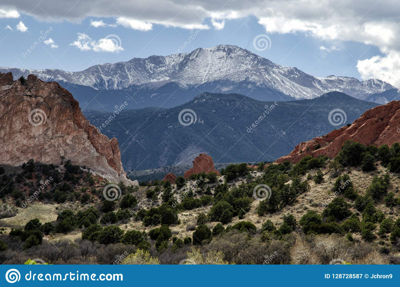 Snow,capped Pike`s Peak In Colorado Stock Image , Image of