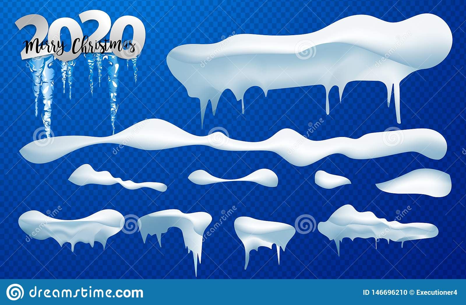 2020 Snow caps, snowballs and snowdrifts set. Snow cap vector collection. Winter decoration element. Snowy elements on winter