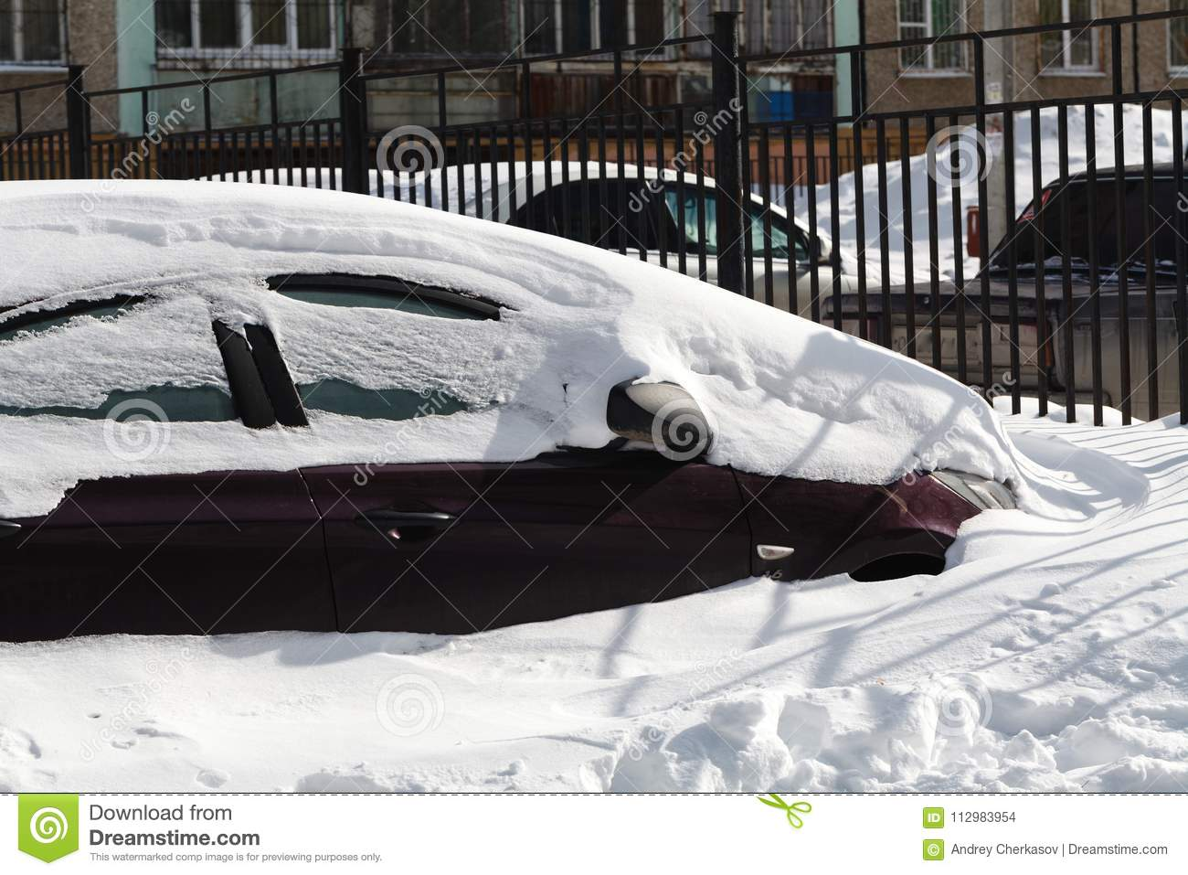 Snow-car in city
