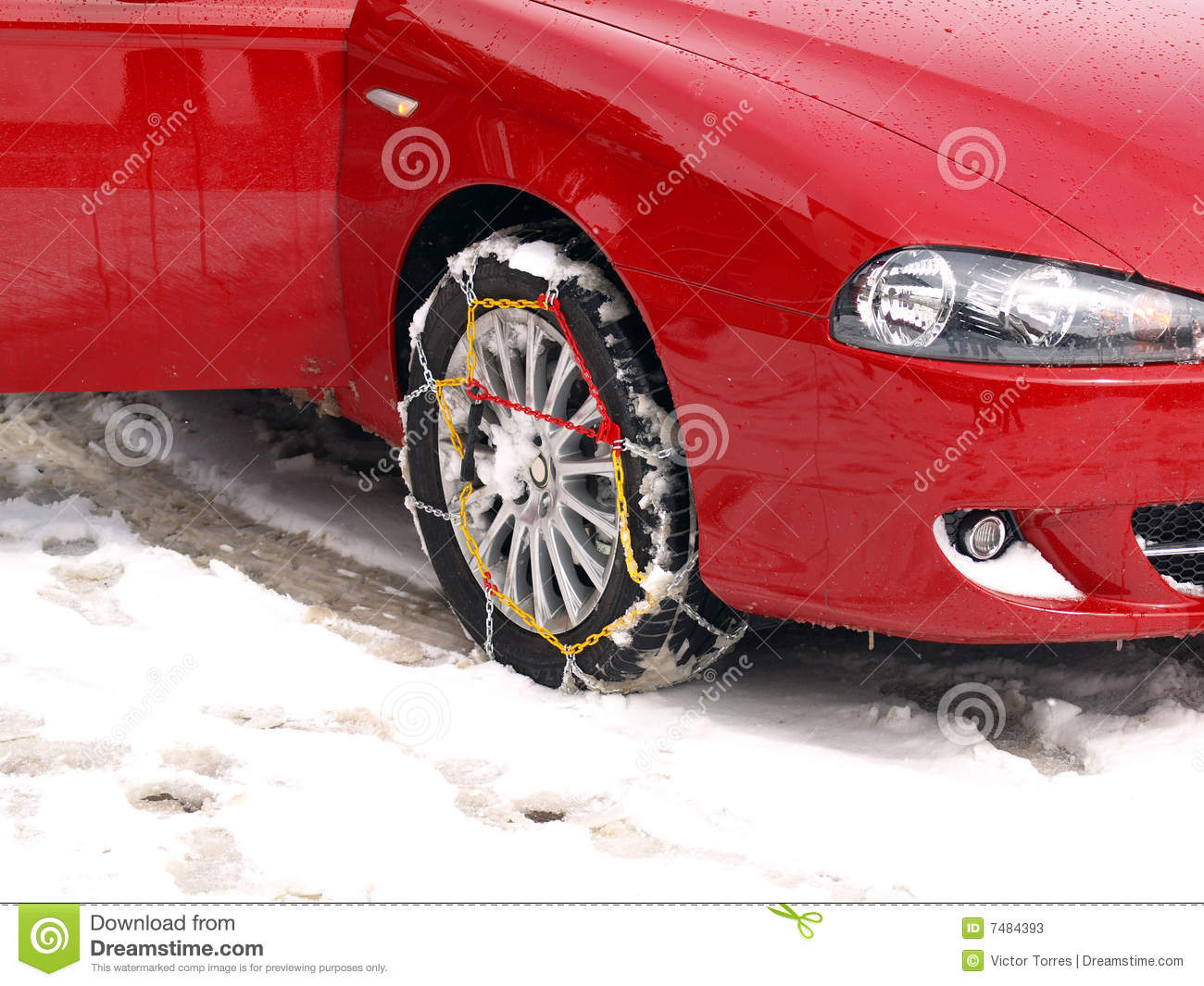 Snow Chains On A Car Tire Stock Image Image Of Alfa Door
