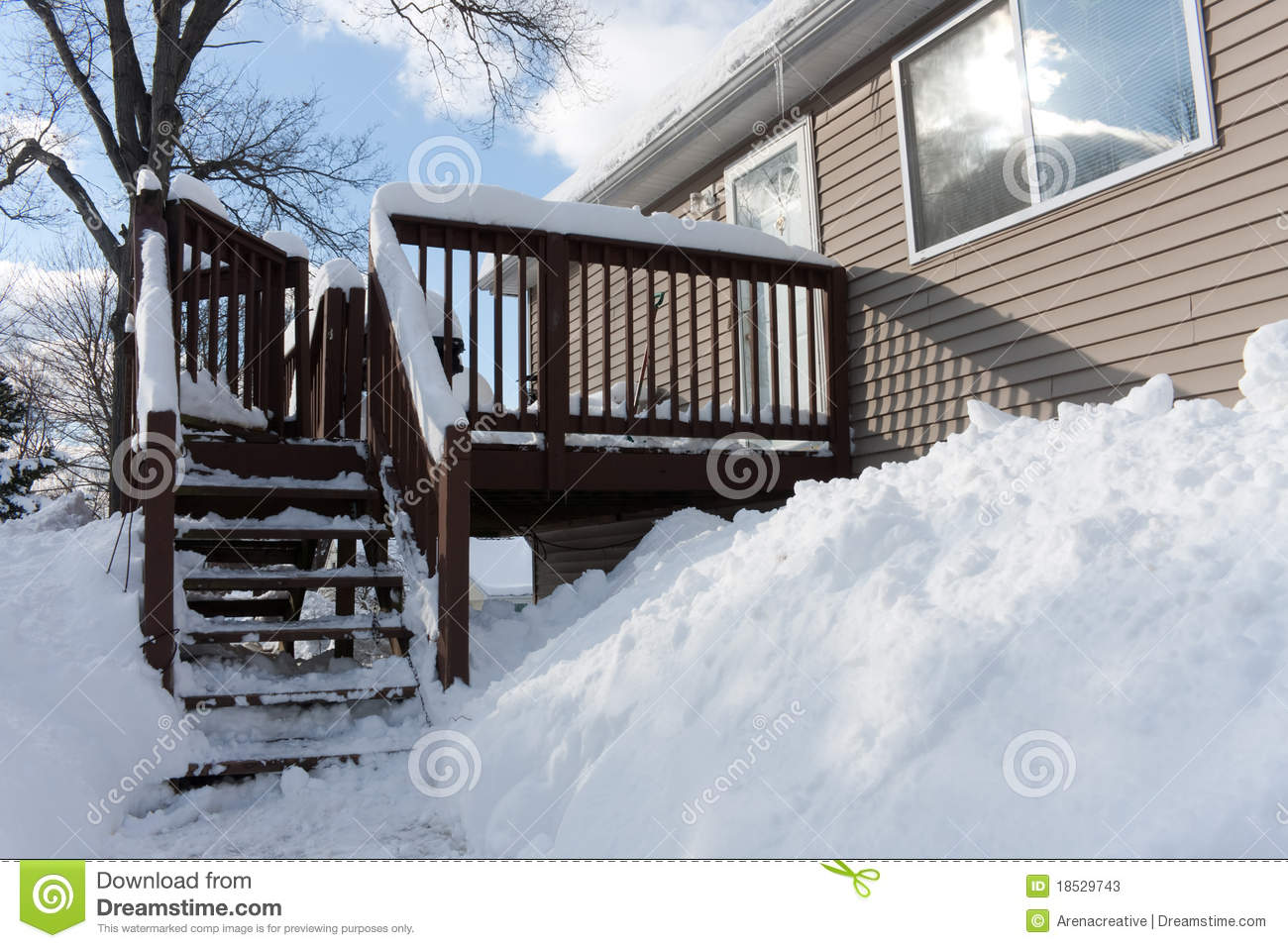 Download Snow Covered Backyard stock image. Image of deck, rural - 18529743