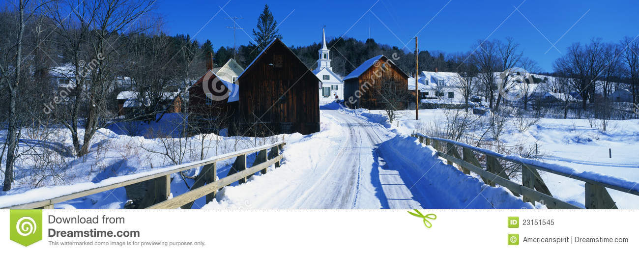 Snow Covered Bridge In New England Town Royalty Free Stock