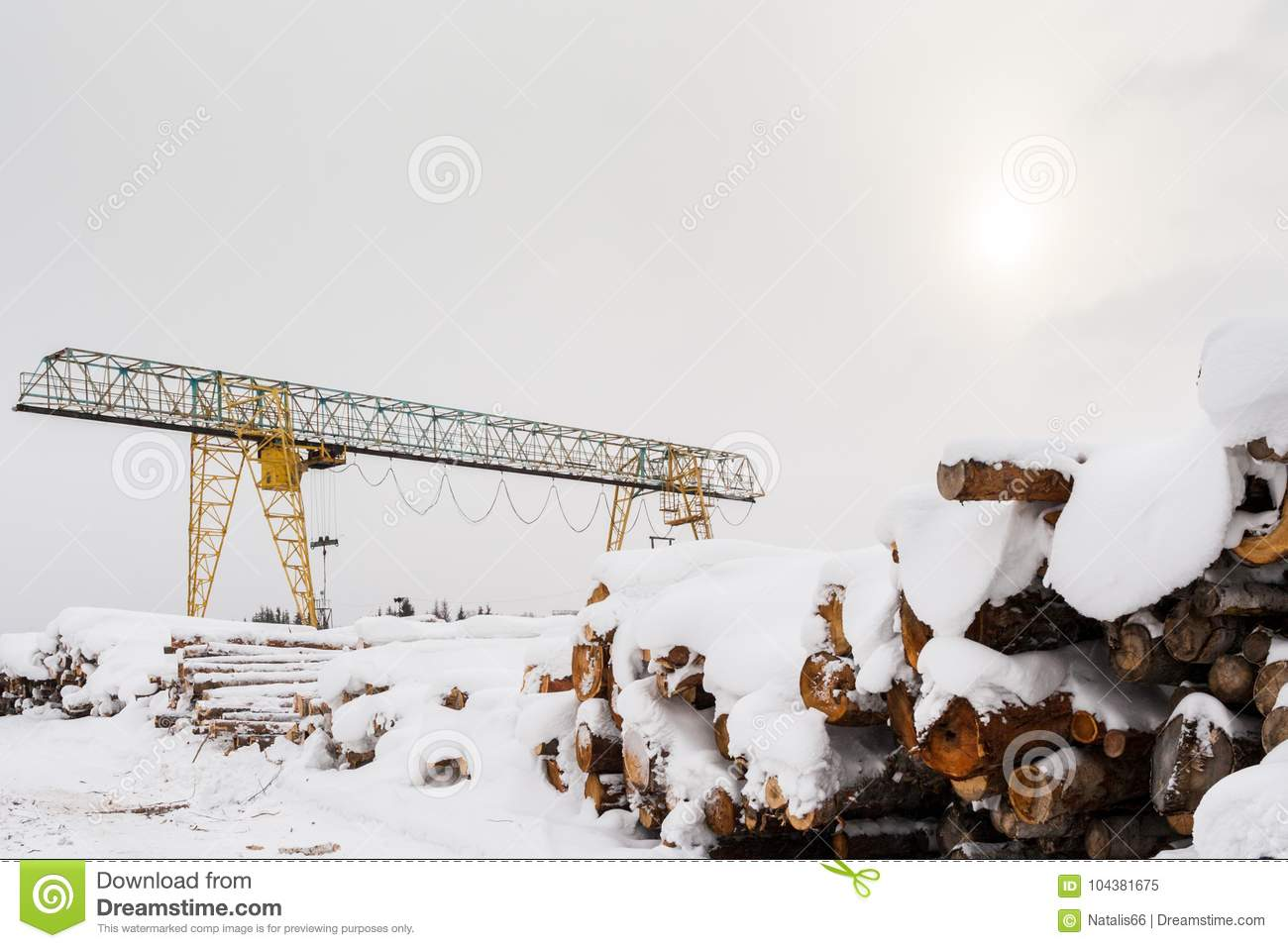 Snow-covered bunch of sawn logs and gantry crane in winter day.
