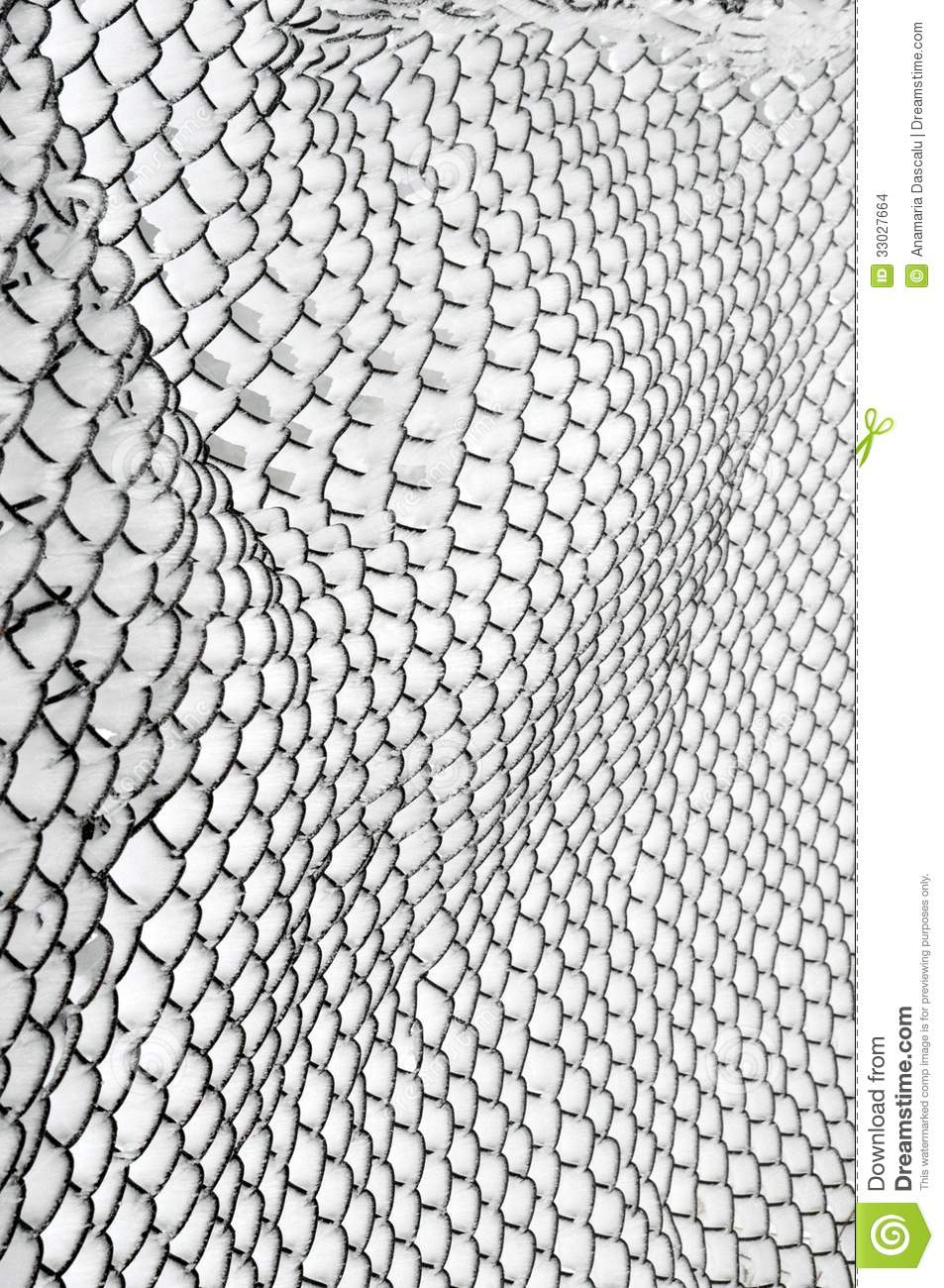 Snow Covered Chain Link Fence Stock Photo