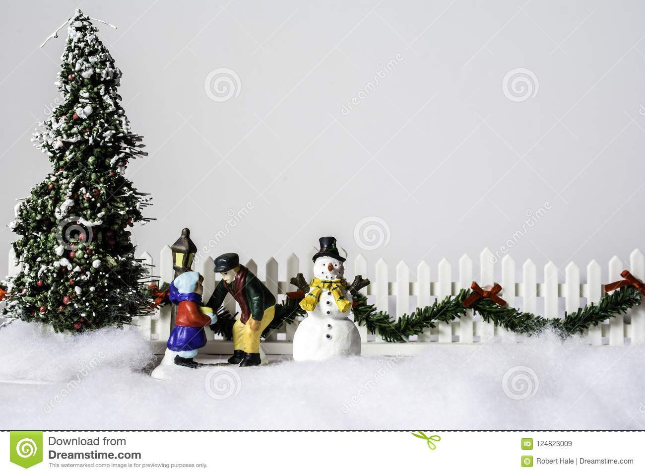 Christmas Tree And Snow Man Stock Image - Image of presents, crafts ...