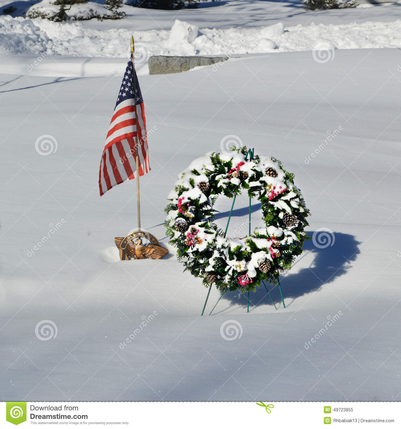Snow Covered Christmas Wreath with American Flag