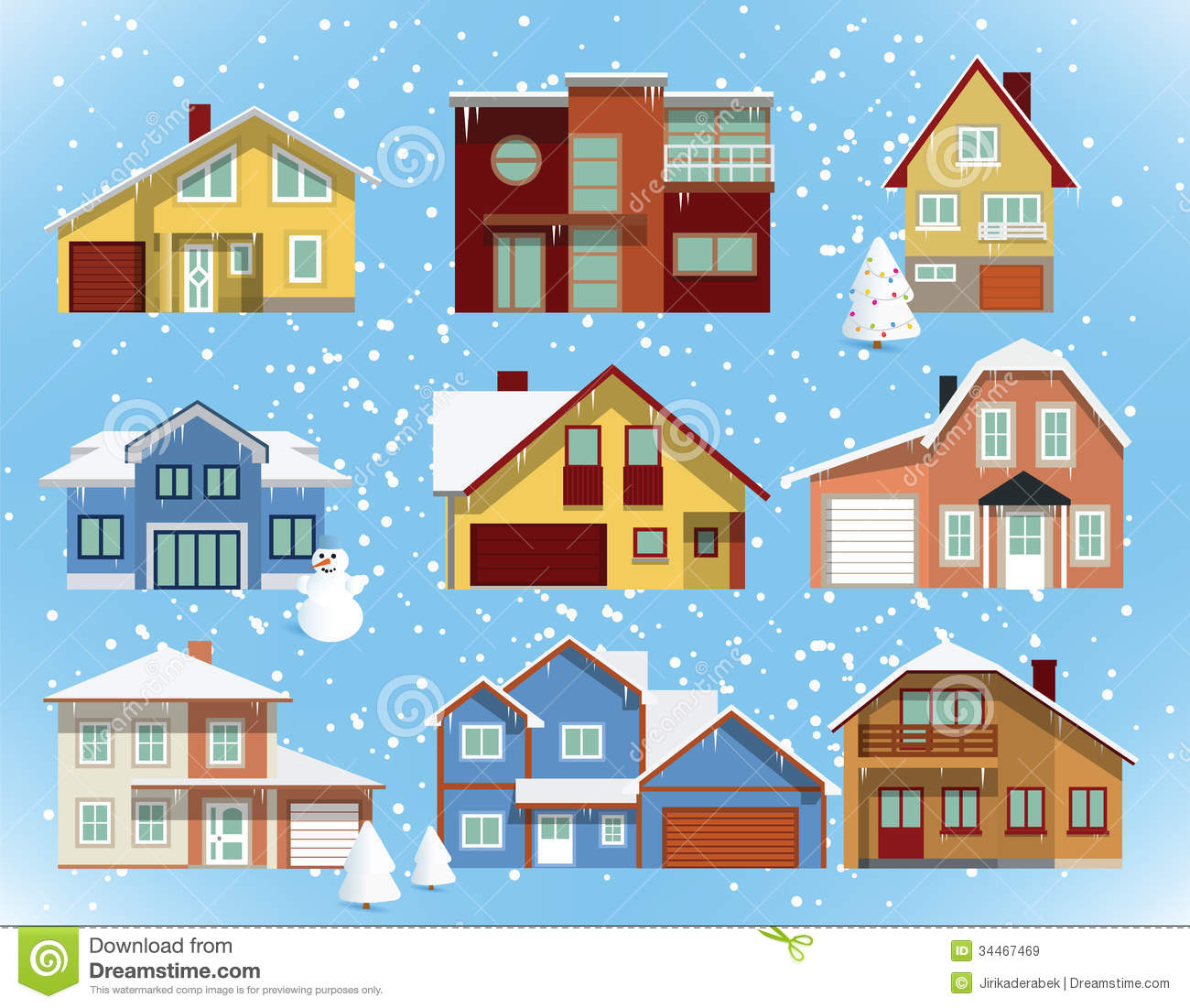 snow covered city houses vector illustration winter 34467469