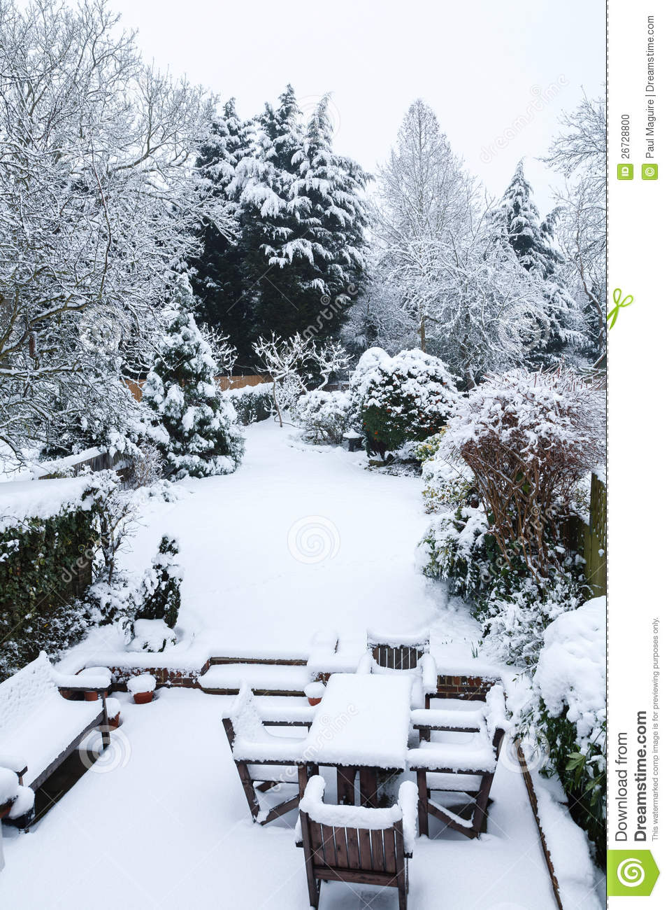 Snow Covered Garden And Patio Stock Photo Image Of