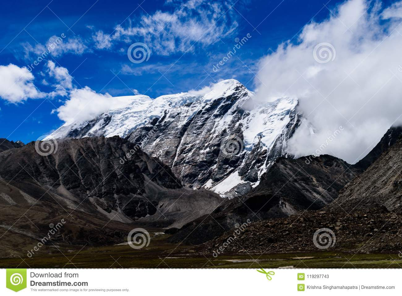 Snow Covered Himalayan Mountain Range With Clouds Originating From It