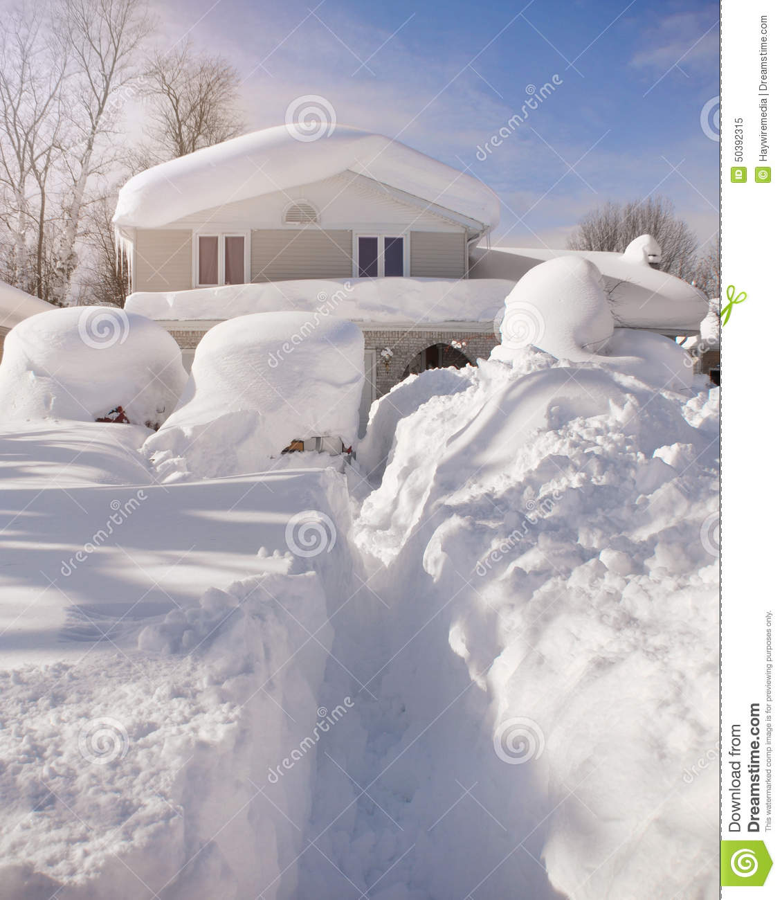 Worst Blizzards Ever Snow Covered House From Blizzard Stock Image Image Of