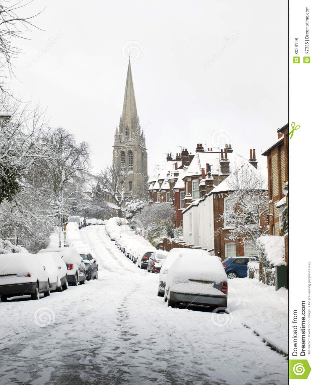 Snow covered London Road.