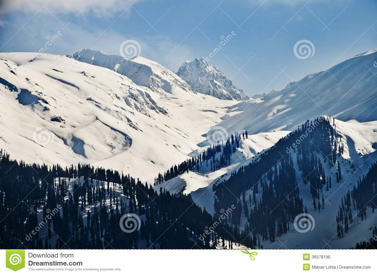 Snow Covered Mountains In Winter Gulmarg Jammu And