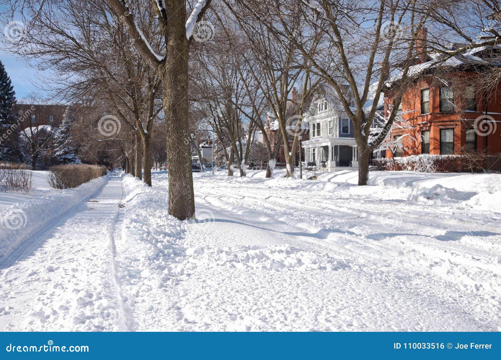 Snow Covered Neighborhood In Summit University Editorial