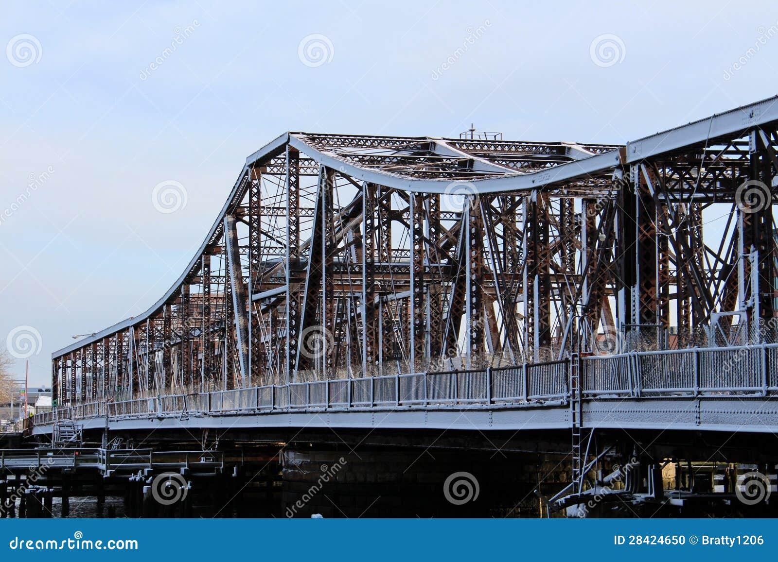 Metal Covered Bridges : Snow covered old metal bridge stock photo image