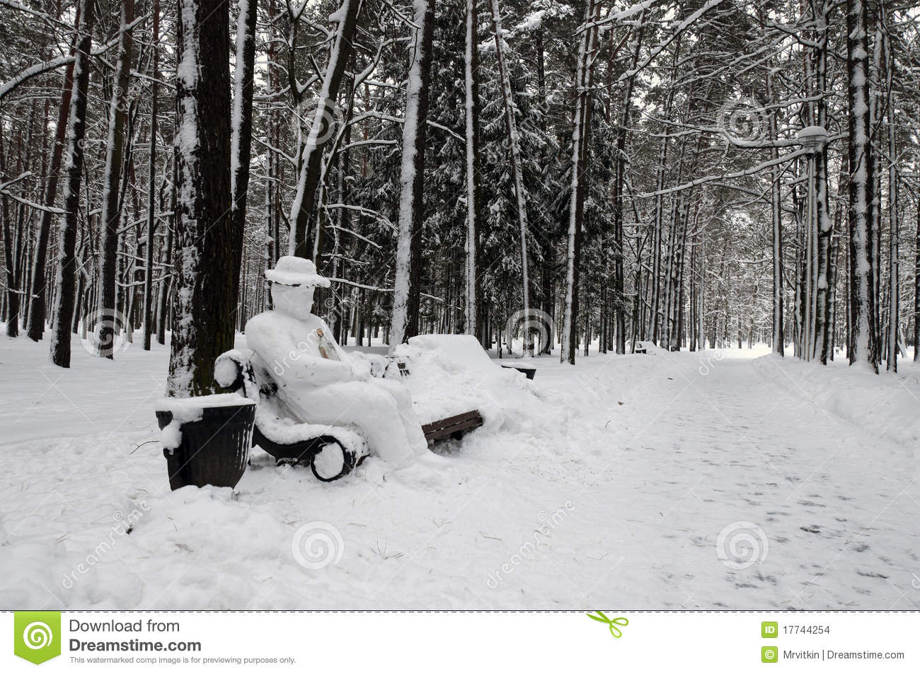 Snow Covered Park Bench With Yeti Man Stock Photo Image