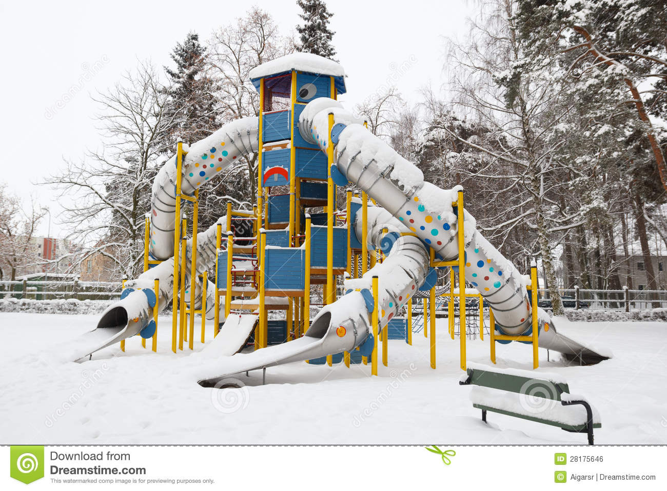 Snow Covered Playground Royalty Free Stock Image - Image ...